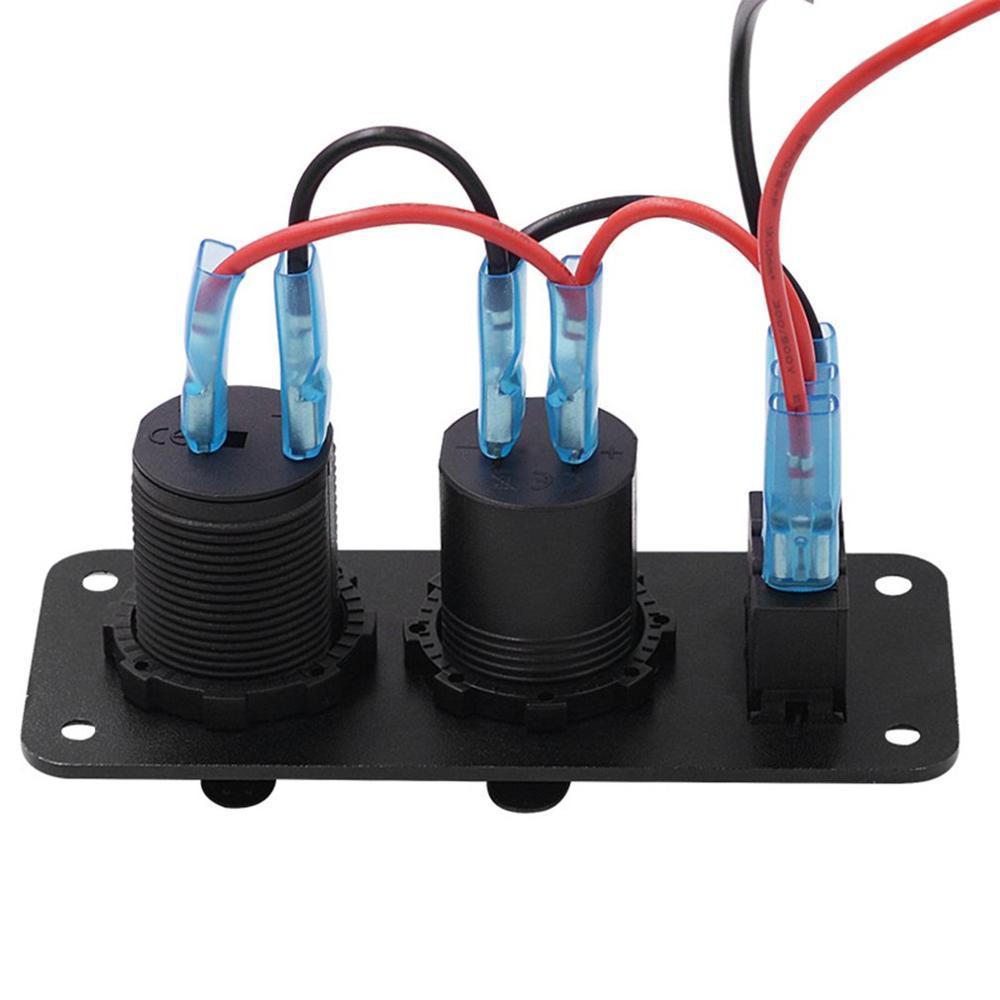 3 в 1 многофункциональная панель переключателя двойной USB быстрая зарядка цифровой измеритель напряжения гнездо прикуривателя для авто яхты