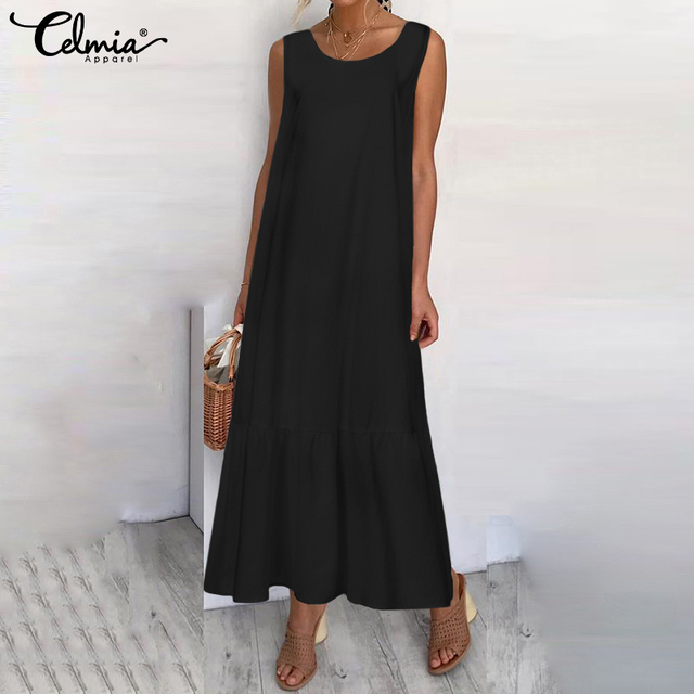 Plus Size Sundress 2019 Celmia Women Summer Sleeveless Maxi Long Dress Female Casual Loose Solid Maxi Dress Holiday Vestido Robe 2