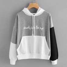 Chic Women Letters Print Hoodies Casual Long Sleeve Hooded Pullover Autumn Winter Patchwork Sweatshirts Streetwear