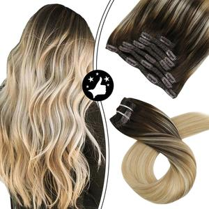 Image 2 - Moresoo Hair Clip in Machine Remy Brazilian Human Hair Clips in Double Weft Natural Straight Clip on Human Hair Extensions