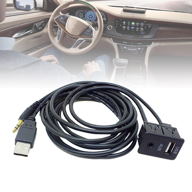 150cm Car Dash Flush Mount USB Port Panel Auto Boat Truck 3.5mm AUX USB Extension Cable Adapter For Toyota VW Nissan KIA Honda