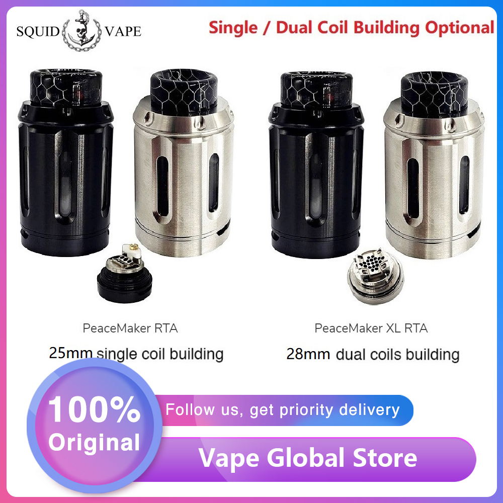 New Squid Industries PeaceMaker RTA Tank 4ml & 25mm E-cig Atomizer With Easy Top Refill Design VS PeaceMaker XL RTA 5ml & 28mm