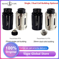 New Squid Industries PeaceMaker RTA Tank 4ml & 25mm E cig Atomizer with Easy Top Refill Design VS PeaceMaker XL RTA 5ml & 28mm