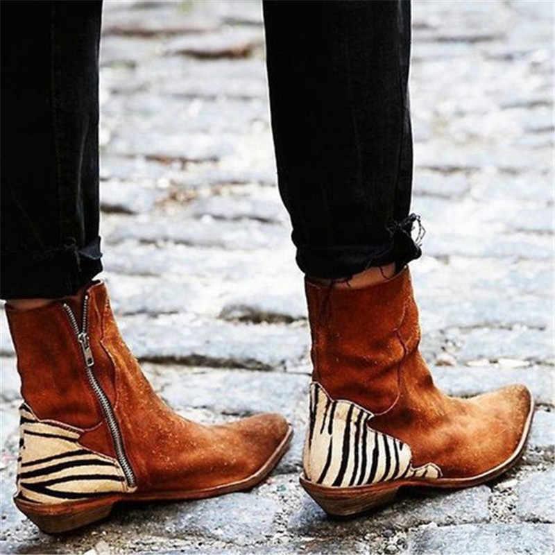 MoneRffi zapatos de mujer 2019 Sexy leopardo puntiagudas botines con cremallera patrón de cebra botas de tacón plano profundo zapatos de mujer botas de mujer