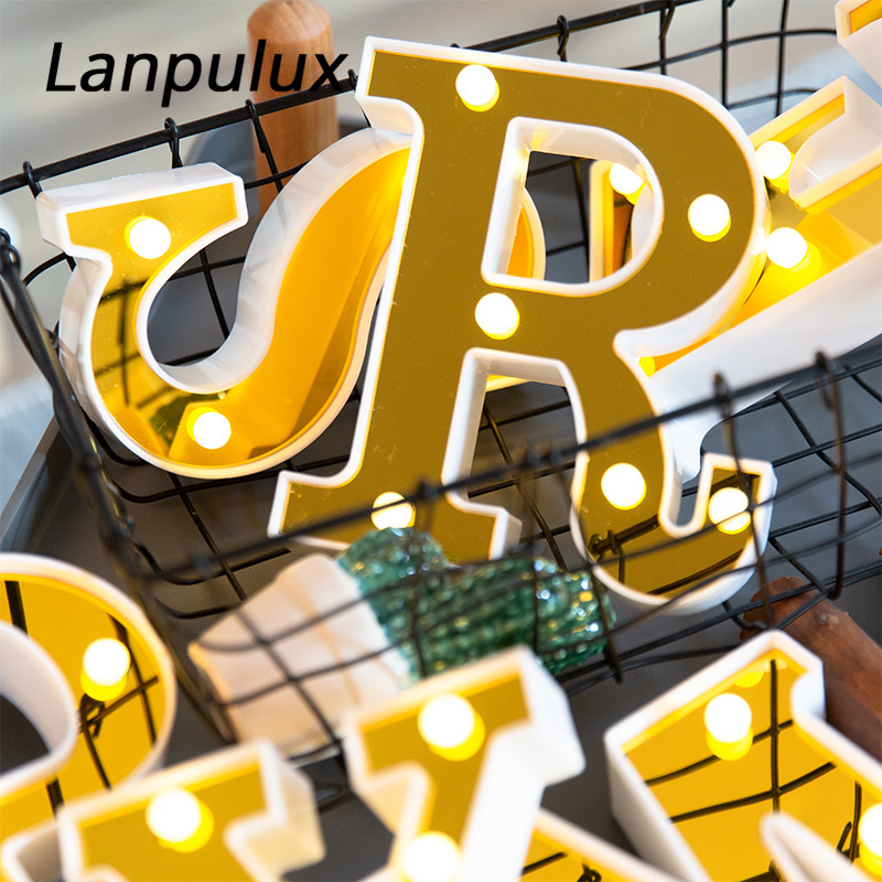 Lanpulux Golden Letter Lamp 16cm Sign Alphabet LED Lamp Indoor Birthday Party Wedding Romantic Night Lights Home Decor Lighting