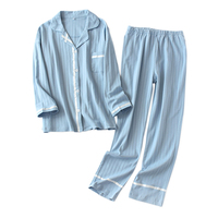 Fresh striped 100% knit cotton pajamas sets women Korea autumn sleepwear women long sleeve quality pyjamas women sleepwear