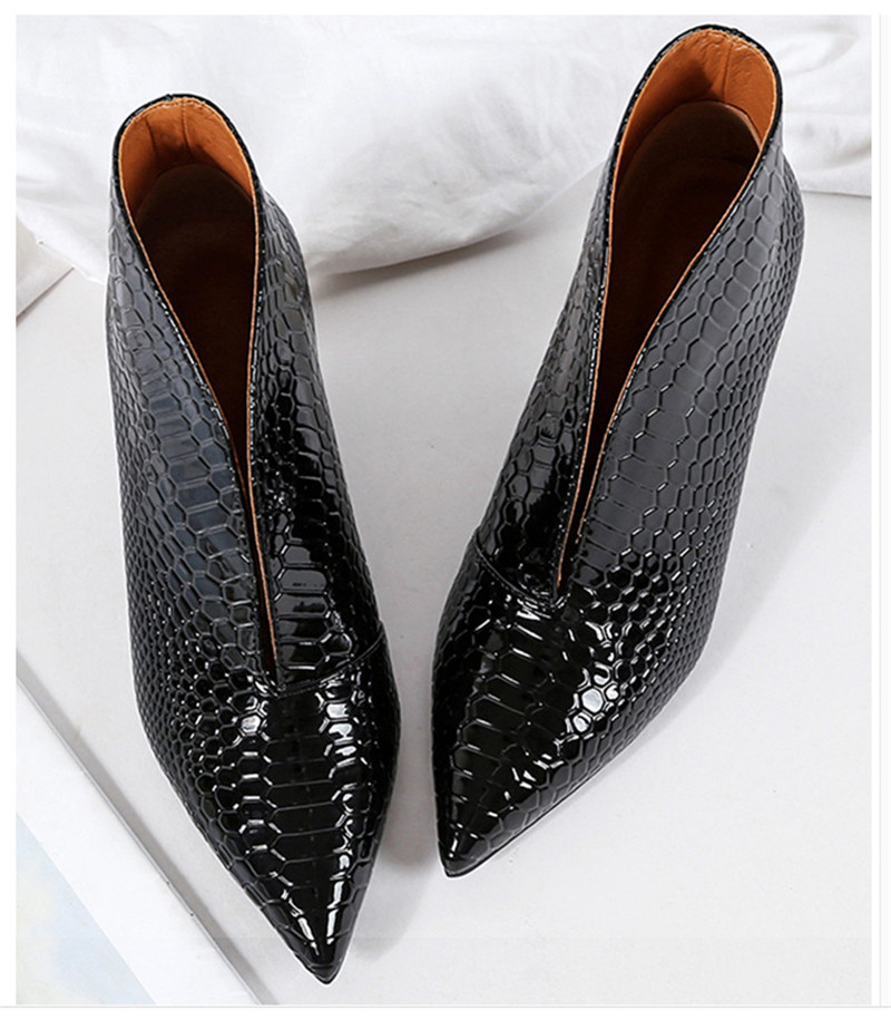 Snake Patent Leather Stilettos Pumps Women Shoes Tip Head V Mouth High Heels Women Shoes 2020 Spring Small Thin Heel Lady Pumps (9)