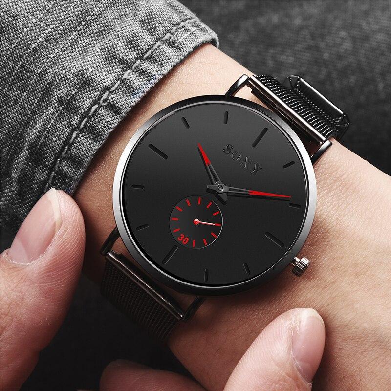 Men Watches Luxury Mesh Belt Stainless Steel Watch Masculino Relogio Quartz Relojes Hours Small Dial Function Watch Erk Saat