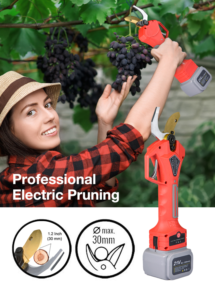 32mm SK5 High Carbon Steel Powered Pruner Cordless Tree Branch Electric Pruning Shears With Rechargeable Battery Of Hedge Cutter