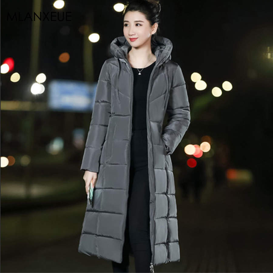 Plus Size Zipper Hooded Long Down Coats Women Solid 6XL Winter Down Jacket Female Fashion Slim Thicken Warm Parka Coat Outerwear
