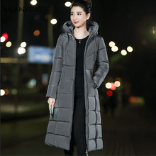 Plus Size Zipper Hooded Long Down Coats Women Solid 6XL Winter Down Jacket Female Fashion Slim Thicken Warm Parka Coat Outerwear цены онлайн