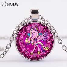 My Little Horse Poni Cartoon Necklace Horn Horse Princess Cute Printed Crystal Glass Pendant Necklace Birthday Party Gift