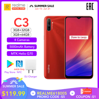 realme C3 5000mAh Battery Mobile Phone 3GB RAM 32GB 64GB ROM Helio G70 Processor 12MP AI Dual Camera HD Mini-drop Fullscreen NFC