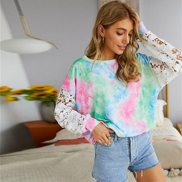 Фото повседневная женская футболка кружевной лоскутный пуловер с цена
