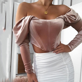 Women's top sexy zipper velvet off shoulder off shoulder collar pleated long sleeve top T-shirt short sweater slim waist formal black sexy off shoulder back splited t shirt