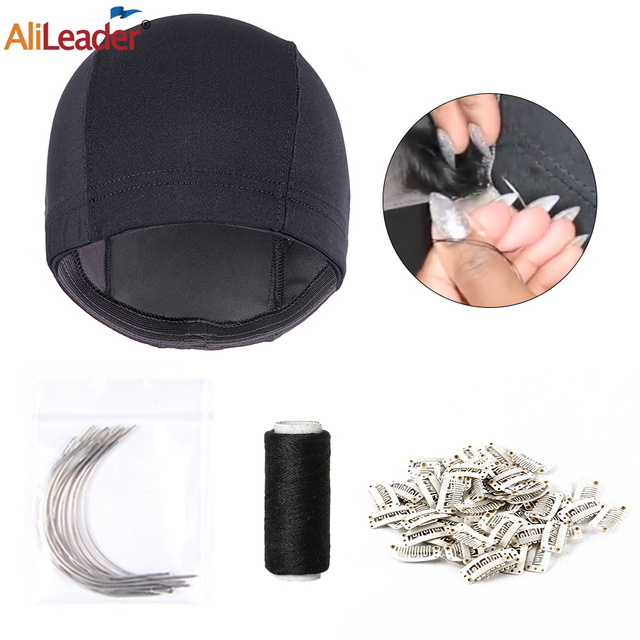 Alileader Wig Making Set Sewing Thread Dome Cap C-Style Needles BB Clip For DIY Wigs Professional Wig Making Tools