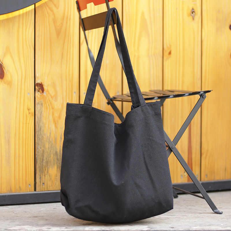 Ougger grande bolsas femininas sacos de ombro verão marrom lona simples vintage casual estilo coreano sacos sólidos para compras