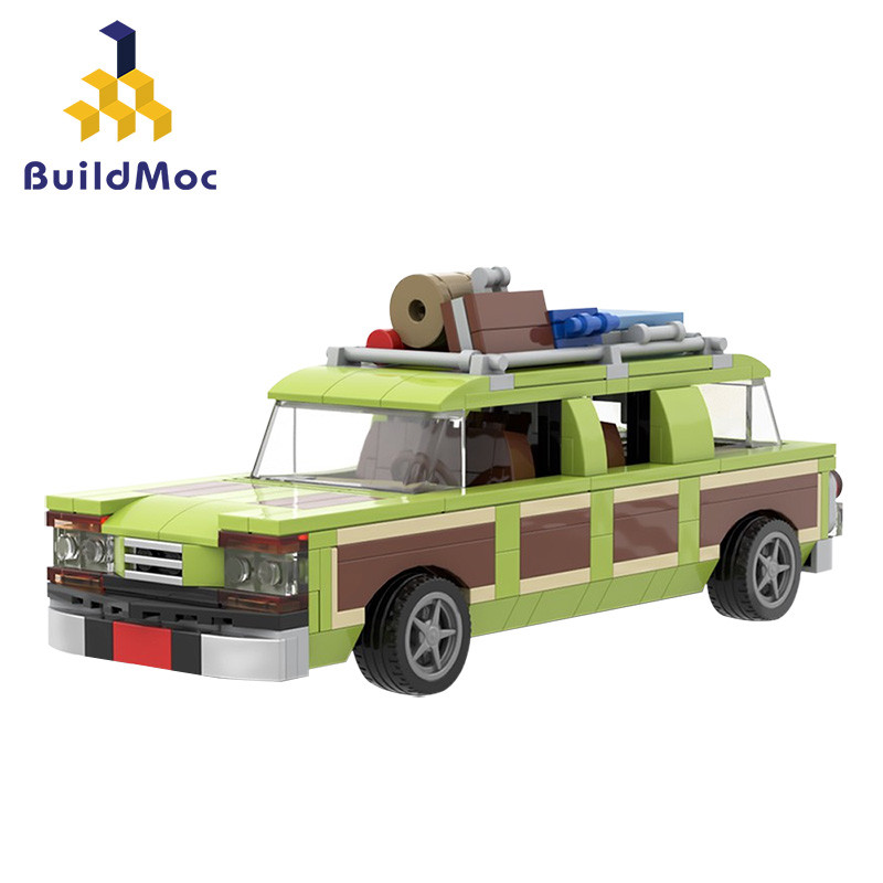 Buildmoc wagon rainha 1983 família truckster station wagon carro educacional montado modelos blocos de construção pequenos tijolos brinquedos