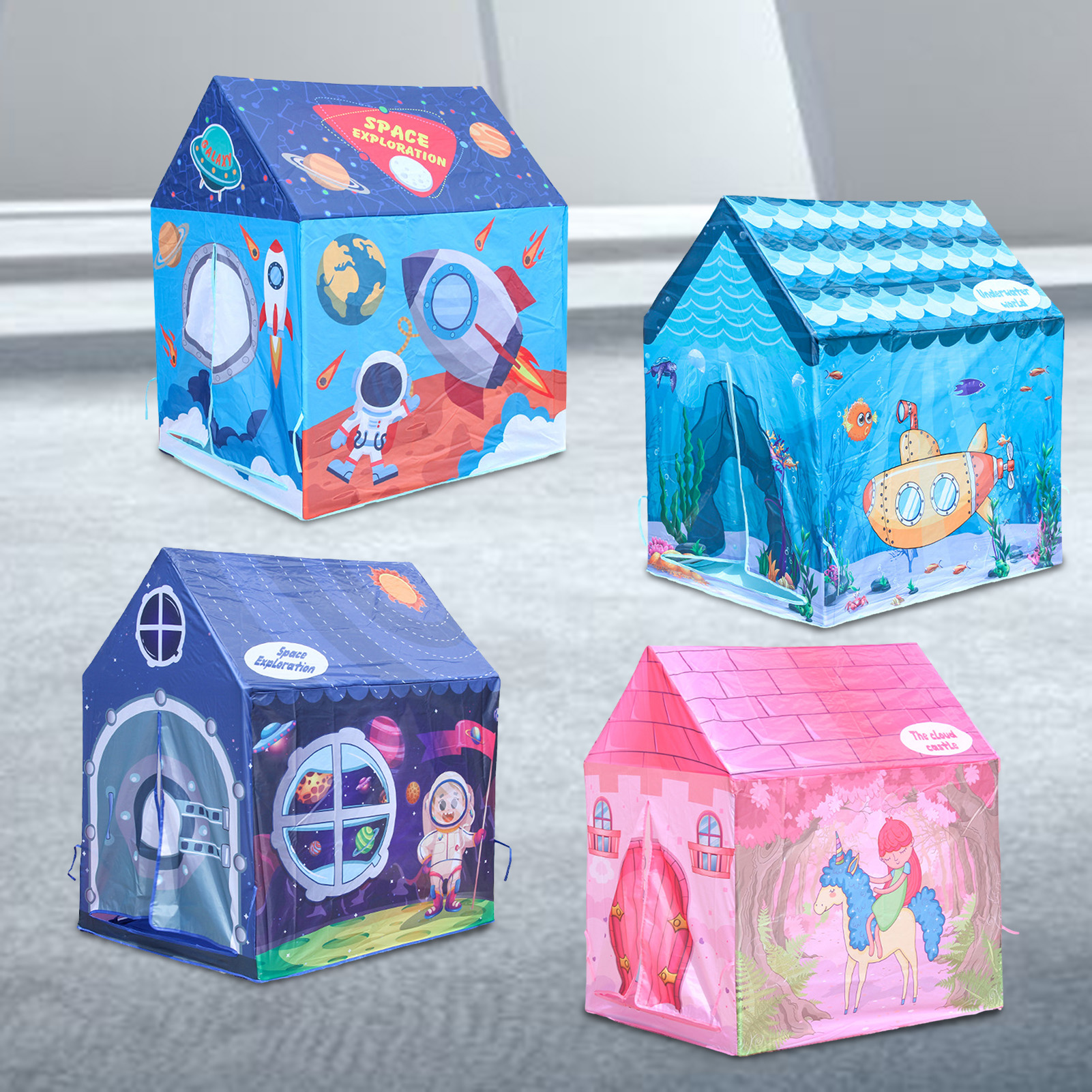 Kids Tents Folding Playhouse Tent Set Portable Children Tent Baby Play House Room Decoration For Boys Girls Castle House