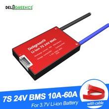 Deligreen 7S 15A 20A 30A 40A 50A 60A 24V PCM/PCB/BMS 3.7V 리튬 배터리 팩 18650 Lithion LiNCM Li Polymer 스쿠터