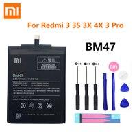 Xiao mi bateria do telefone original bm47 alta qualidade completa 4000mah bateria de substituição para xiaomi redmi 3 3pro 3s 3x 4x + ferramentas gratuitas