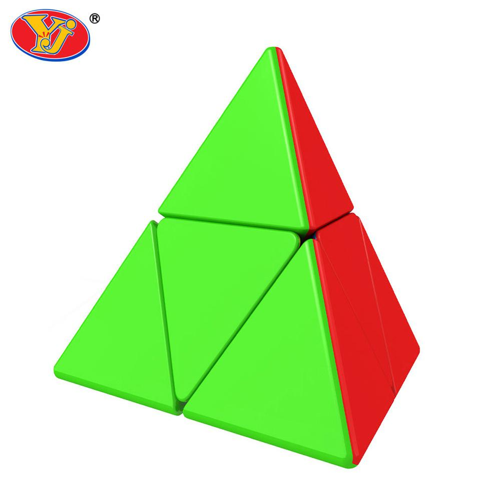 YJ Magic Cube 2x2 Pyramid Triangular Solid Color Smooth Abnormity Cube Educational Toy