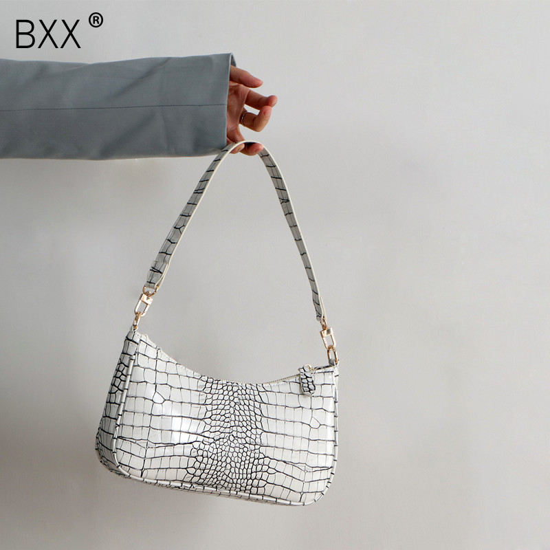 [BXX] Crocodile Pattern PU Leather Crossbody Bags For Women 2020 Female Shoulder Handbags Purses Travel Cross Body Bag HM005