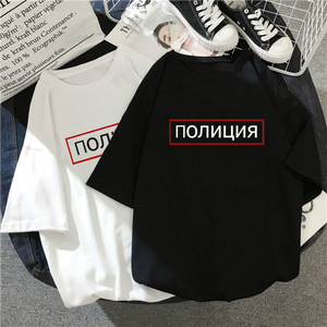 THE POLICE letter Russian large size tees casual vintage punk Harajuku black female short-sleeved loose hip hop fun ins T-shirt