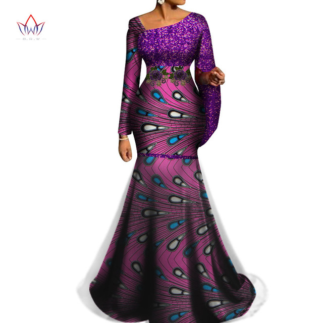 2020 African Traditional Wear for Women Sequined Long maxi Dress Dashiki African clothes for women party ladies clothes WY6570