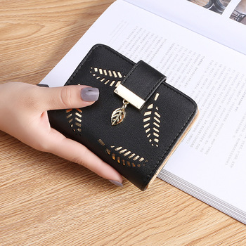 2020 Design Women's Purse Zipper Leather Ladies Wallet Women Luxury Brand Small Female Wallet Hollow Leaves for Credit Cards stylish zipper and magnetic closure design wallet for women