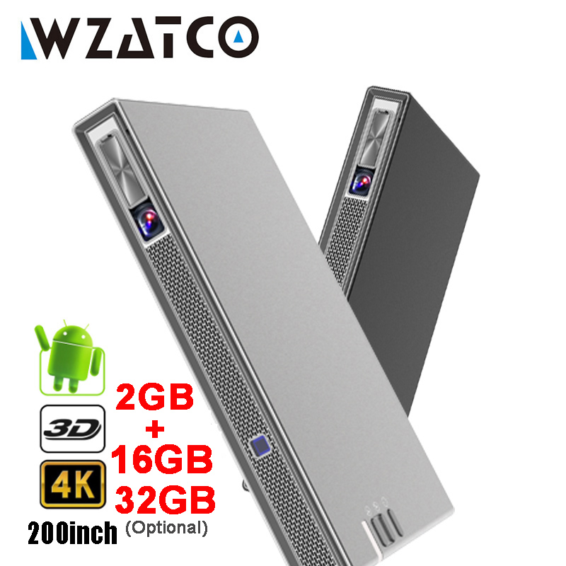 Wzatco t5 portátil mini dlp projetor 3d 4 k 5g wifi inteligente android para beamer de cinema em casa completo hd 1080 p vídeo laser proyector