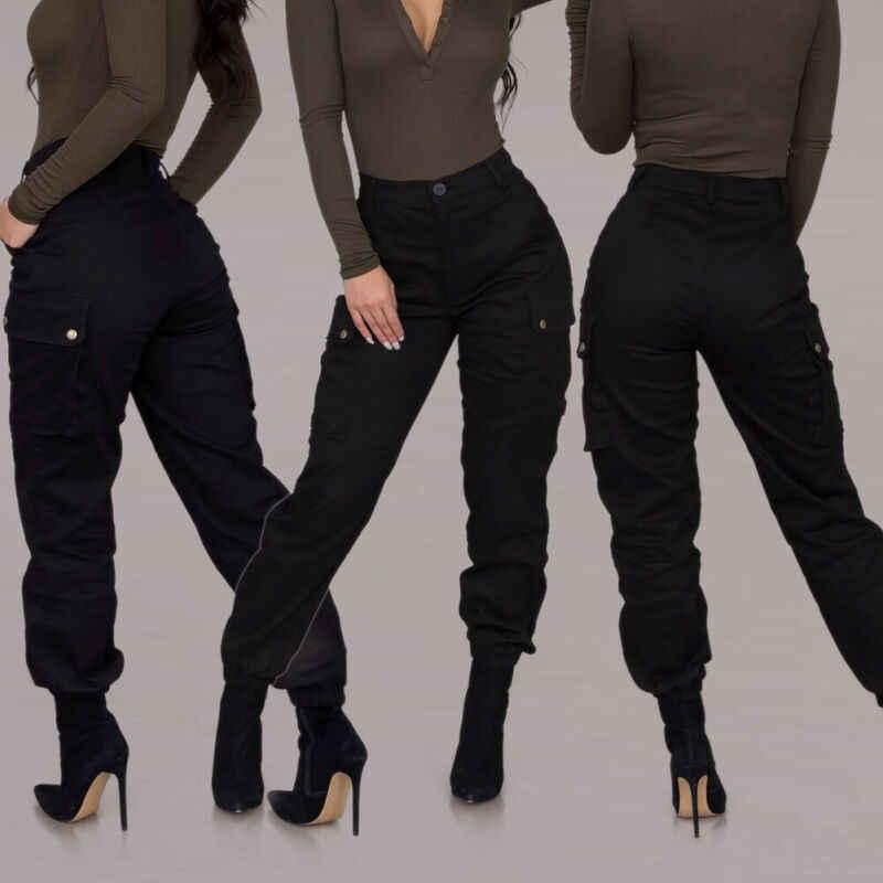Pantalones Cargo De Combate Militar Para Mujer Pantalon A La Moda Color Negro De Cintura Alta Ropa De Calle Pantalones Y Pantalones Capri Aliexpress