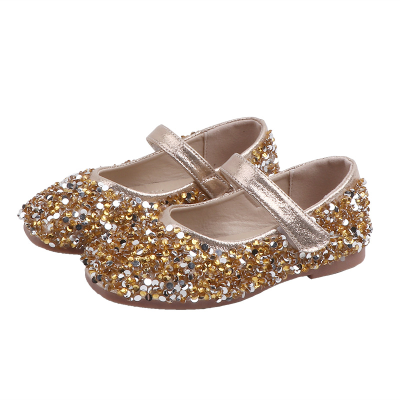 2020 Children Girls Leather Shoes For Kids Beads High Heel Princess Shoes Girls Autumn Spring Rubber Party Sandals For Children