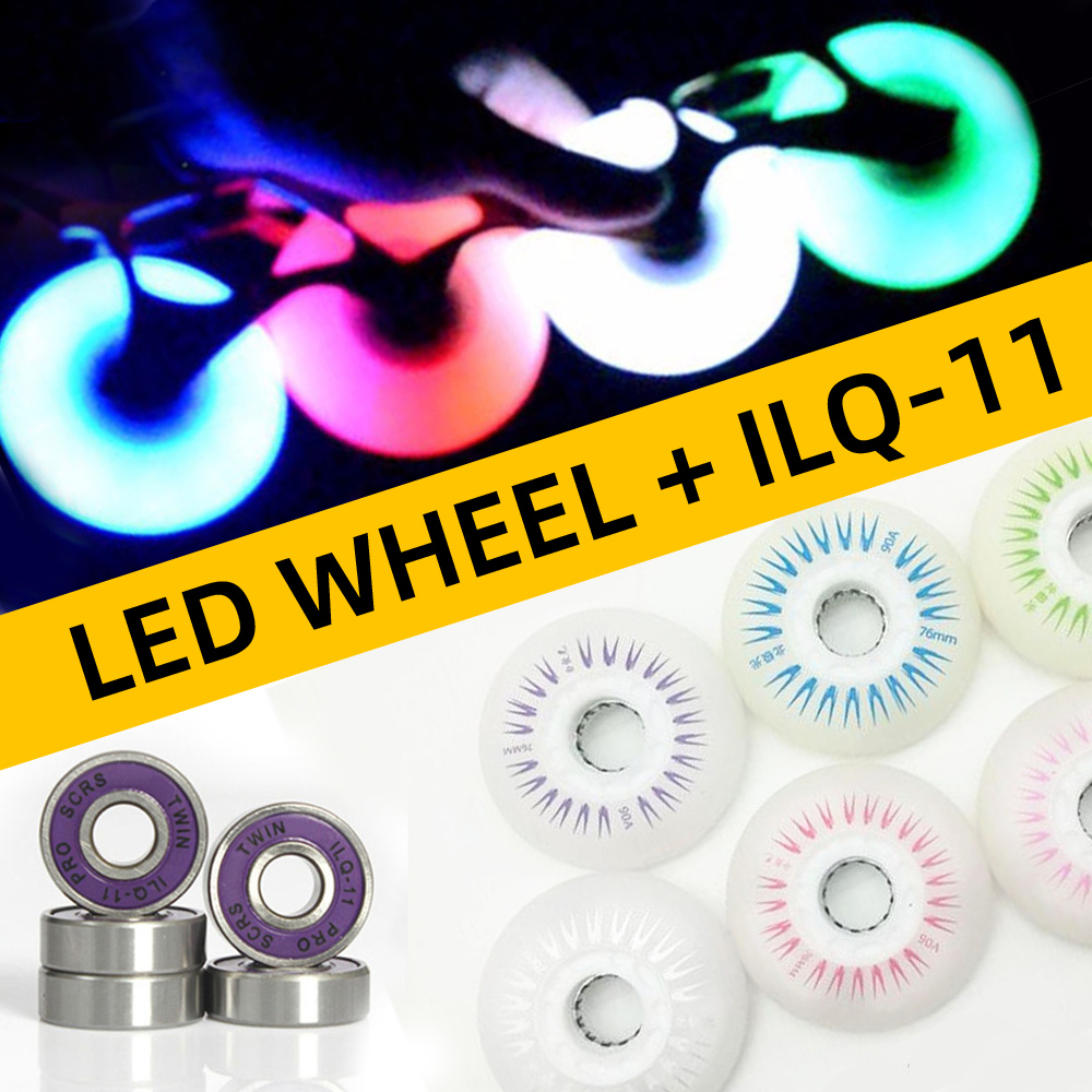 4pcs Skating Wheel LED Flash Roller Skates Wheels 72 76mm 80mm Slalom FSK Tyre For SEBA High HV HL FRM FR Patines ILQ-11 Bearing