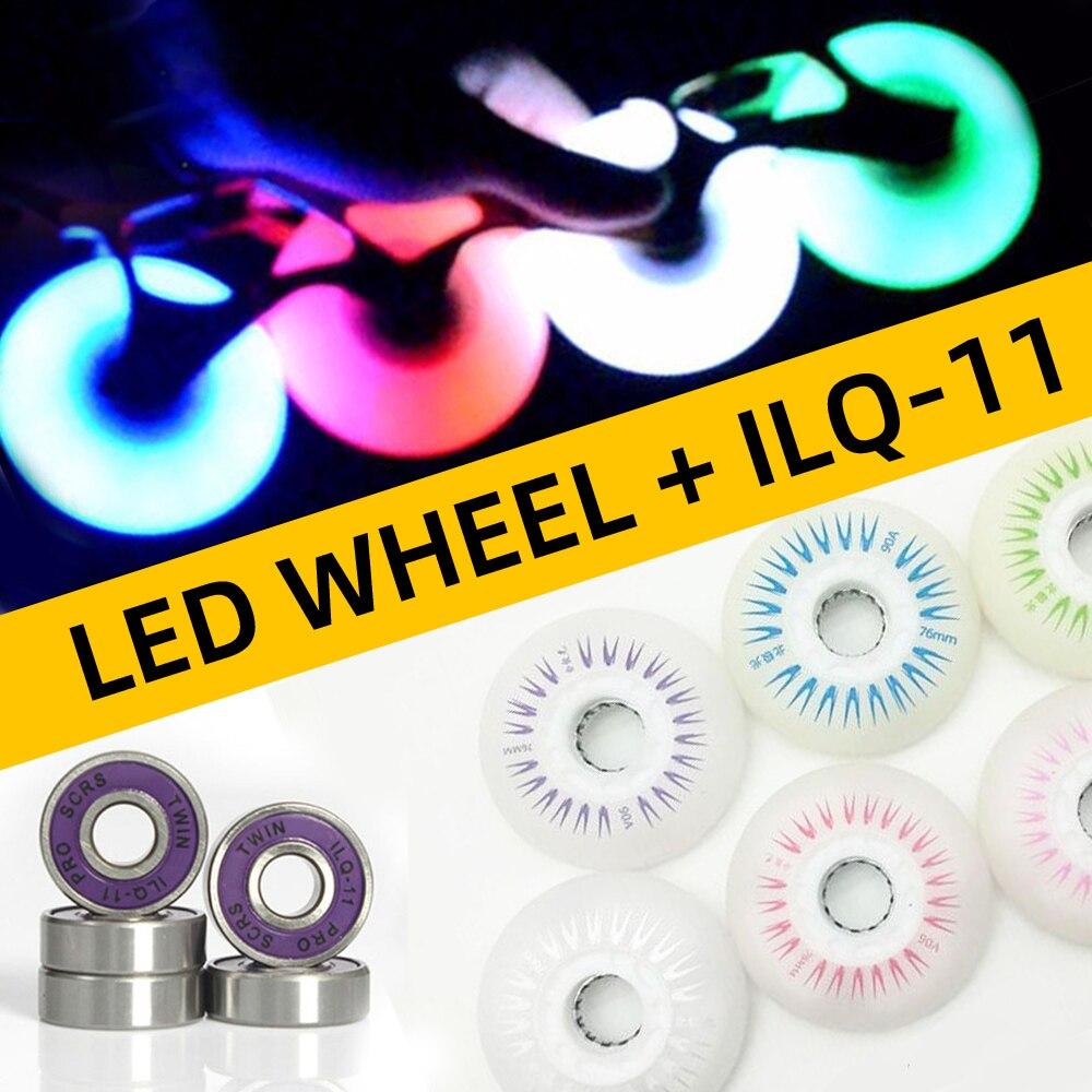 4pcs Skating Wheel LED Flash Roller Skates Wheels 72 76mm 80mm Slalom FSK Tyre For SEBA High HV HL FRM FR Patines ILQ-11 Bearing