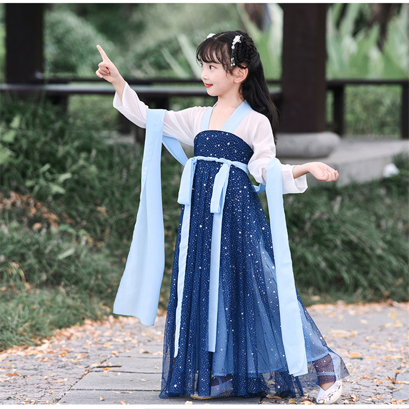 Tang Suit Photography Dress Hanfu Ancient Chinese Traditional Clothes Girls Stage Dance Performance Dress Kids Cheongsam Dress
