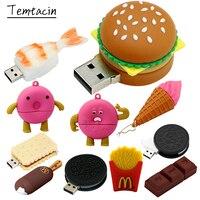 햄버거 Pendrive 256G 음식 초밥 도넛 비스킷 USB 장치 플래시 드라이브 8GB 16GB 64GB 32GB 펜 드라이브 128G Cle USB 메모리 스틱