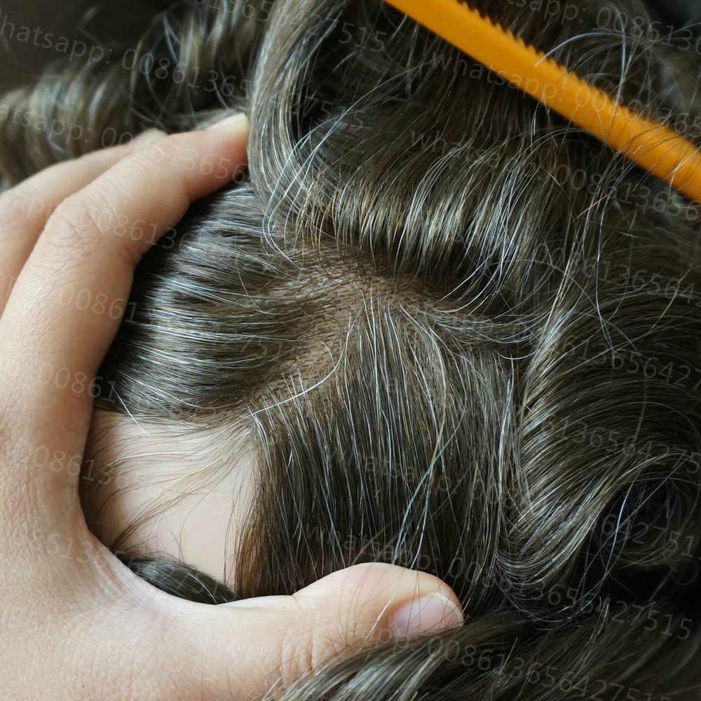 Hstonir, cabello humano para hombres, peluca, tupé desechable, reemplazo de cabello, sistema de pelo súper fino de piel, cabello Remy indio H078