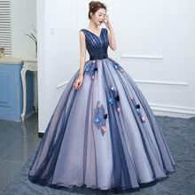 V neck beaded tulle quinceanera dresses 2020 gala gowns hand