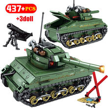 437PCS USA Sherman M4 Tank Building Blocks Legoingly WW2 Tank Military Technic City Police Soldier Weapon Bricks Toys For Child(China)