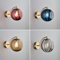 Pós moderna âmbar/fumaça cinza/roxo/azul led ferro sala de estar lâmpada parede vidro quarto cabeceira escada varanda luminária|Luminárias de parede| |  -