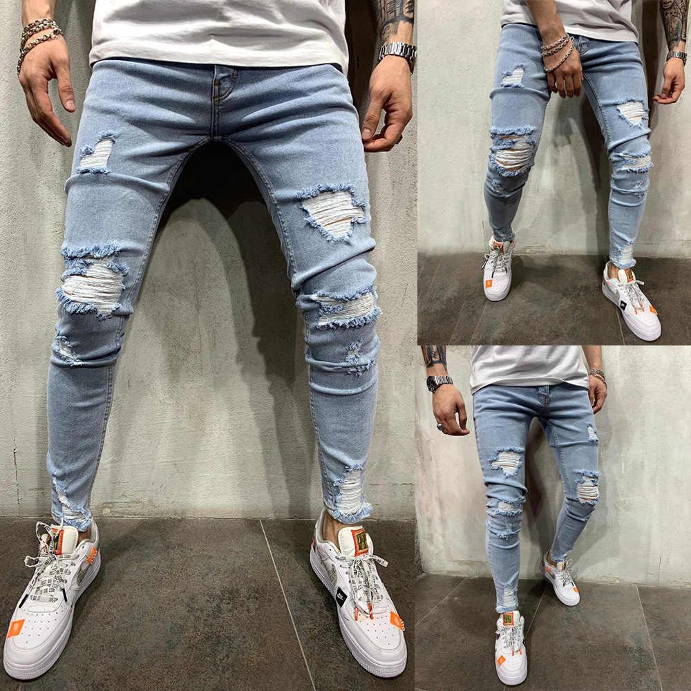 Fashion Streetwear Men S Jeans Vintage Blue Color Skinny Destroyed Ripped Jeans Broken Punk Pants Homme Hip Hop Jeans Men Jeans Aliexpress