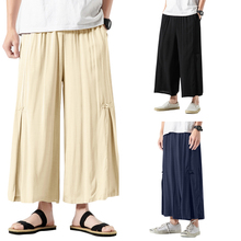 Hot Sale Men's Cotton Linen Breathe Fabric Loose Casual Pants Large Size Wide Leg Pant Male Harem Straight Trousers 5XL INCERUN