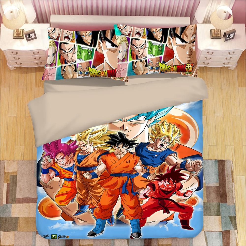 DRAGON BALL Z 3D bed linen Son Goku Vegeta Duvet Covers Pillowcases bed set comforter bedding sets bedclothes bed linens 05