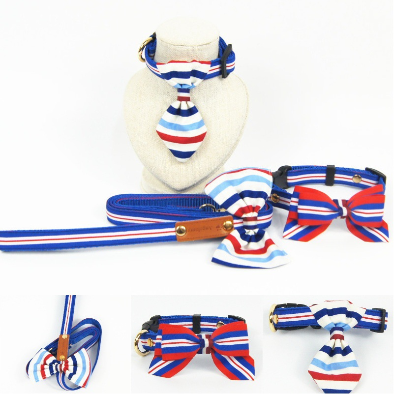 Red And Blue Stripes Bow Bowtie Pet Collar Dog Traction Pet Supplies