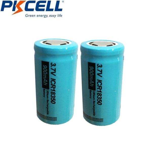 2PCS PKCELL ICR 18350 Lithium ion Battery 3.7V 900mAh Rechargeable Li ion Batteries Bateria Baterias