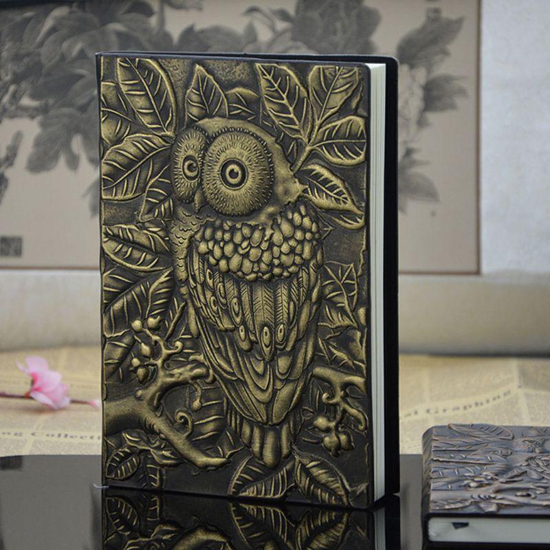 3d escultura coruja em relevo caderno diário