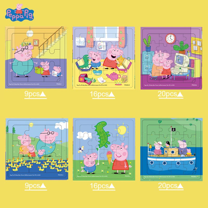 Peppa Pig Wooden Puzzle Toys Kindergarten Baby Early Education Puzzle Cartoon Action Figure Toys