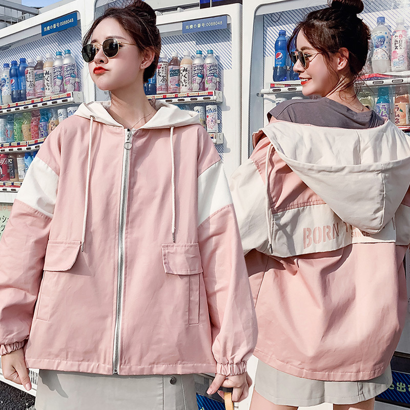 Women   Basic     Jackets   Zipper Casual Pockets Long Sleeves Coats Autumn Letter Printed Hooded   Jacket   Windbreaker Female   Jacket   Outf