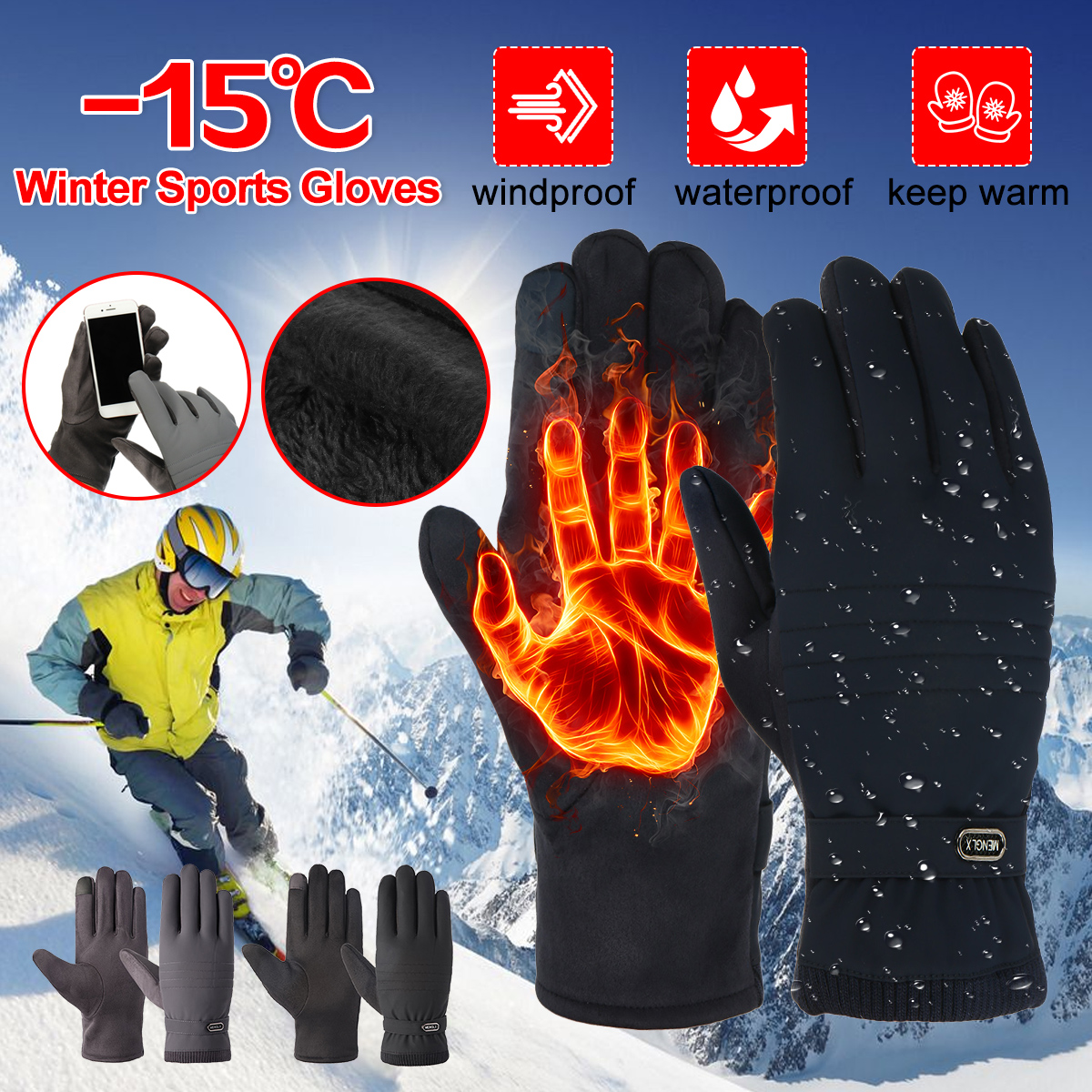 Waterproof Winter Snowmobile Riding Gloves 30 ℃ Snow Motorcycle Ski Mens Glove